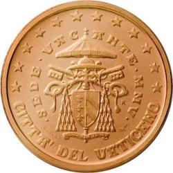 1 евроцент, Ватикан (тип 2)