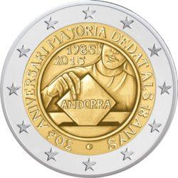 2 евро, Андорра (30-летие установления возраста достижения совершеннолетия и избирательного возраста в 18 лет)