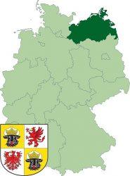 Федеральная земля Мекленбург-Передняя Померания на карте Германии. А так же её герб.