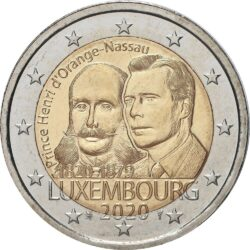 2 евро, Люксембург (200 лет со дня рождения Генриха Оранско-Нассауского)