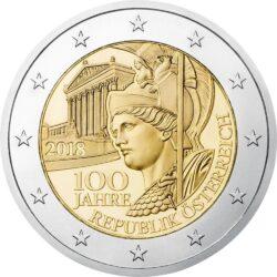 2 евро, Австрия (100 лет Австрийской Республике)