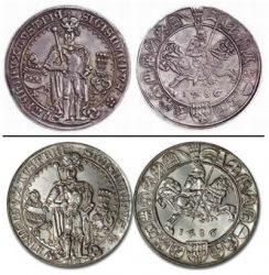 Серебряная австрийская  монета гулдинер (сверху) и ее современное восстановленное изображение (снизу)