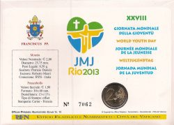 2 euro Vatican 2013 Rio Numisbrief