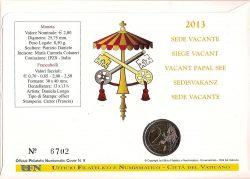 2 euro Vatican 2013. Sede Vacante Numisbrief