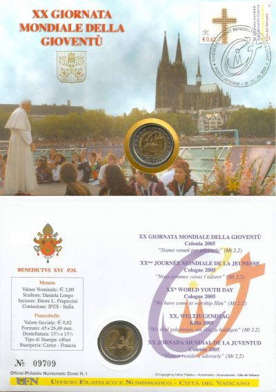 2 euro vatican 2005 Philatelic-Numismatic Cover