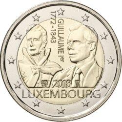 2 евро, Люксембург (175 лет со дня смерти Великого Герцога Гийома I)
