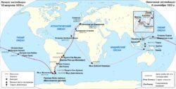 Карта первого кругосветного плавания (1519-1522 гг.)