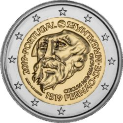 2 евро, Португалия (500-летие кругосветного плавания Магеллана)