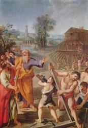«Строительство Ноева ковчега», (неизвестный фр.мастер, ок.1675. Музей Венгрии, Будапешт)