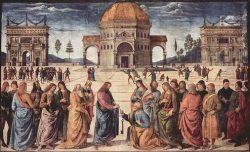 Вручение ключей Апостолу Петру. (П.Перуджино, 1480-1482. Сикстинская капелла, Ватикан)