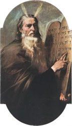 Моисей с Десятью заповедями (Хосе де Рибера, 1638); рога над его лбом символизируют сверхъестественную силу Моисея