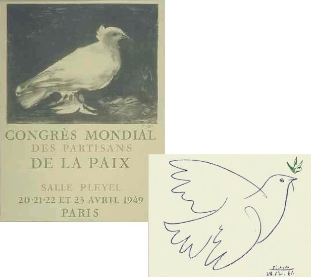 Голубки Пикассо — плакат Первого Всемирного конгресса сторонников мира в Париже (рисунок от 9 января 1949 г.) и рисунок 1961 года.
