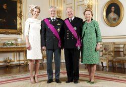 Филипп и Альберт II с супругами (21 июля 2013 г., королевский дворец, Брюссель)