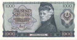 Берта фон Зутнер на австрийской банкноте в 1000 шиллингов образца 1966 года