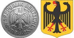Федеральный орёл изображался на монетах ФРГ ещё до введения евро. Справа — герб ФРГ.