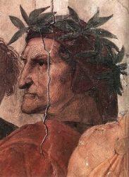 Фрагмент картины Рафаэль Санти «Диспута», на которой Данте. изображён в окружении художников и философов итальянского Возрождения.