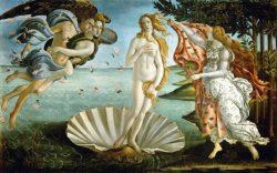 Полотно «Рождение Венеры» (Сандро Боттичелли, ок. 1482—1486, галерея Уффици, Флоренция)