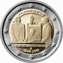 2 евро, Италия (70-летие конституции Итальянской Республики)