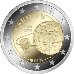 2 евро, Бельгия (50-летие запуска первого европейского спутника ESRO-2B)