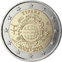 2 евро, Испания (10 лет наличному обращению евро)