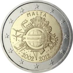 2 евро, Мальта (10 лет наличному обращению евро)