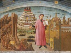 Данте в «Божественной комедии» (фреска Доменико ди Микелино, 1465 г. Собор Санта-Мария-дель-Фьоре, Флоренция. 2,32x2,9 м). Данте изображён держащим копию «Божественной комедии» рядом со входом в Ад, семью террасами Горы Чистилища, городом Флоренция и сферами Неба вверху.