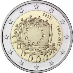 2 евро, Эстония (30 лет флагу Европейского союза)