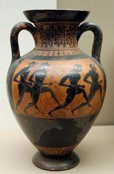 Древнегреческая амфора с изображенными на ней античными бегунами (530–520 гг. до н.э.)