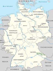 Национальный парк Баварский лес на карте Германии