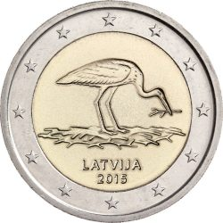 2 евро, Латвия (Чёрный аист. Природа в опасности)