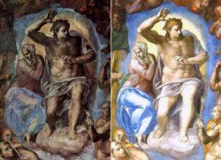 Дева Мария и Христос— фрагмент фрески Микеланджело «Страшный суд» (1537—1541)— до и после реставрации