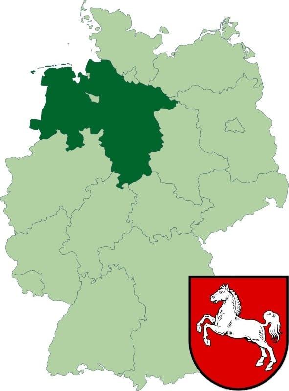 Федеральная земля Нижняя Саксония на карте Германии