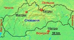 Горы Татры, Фатры и Матра на карте