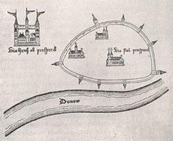 Замок и город Прессбург (ныне Братислава) на изображении XV в.