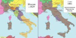 Политическая карта Аппенинского полуострова в 1829 и 1861 годах