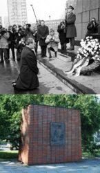 Тот самый момент коленопреклонения Вилли Брандта перед памятником героям гетто (сверху) и монумент в честь этого момента (внизу)