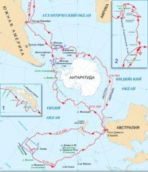 Маршрут экспедиции в высоких южных широтах и тропиках