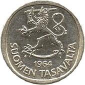 Финская монета номиналом в 1 марку, бывшая в обращении в 1964 - 2001 гг.
