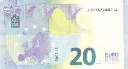 Euro banknote 20 euro 2015 rev