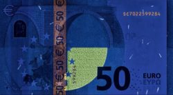 Euro banknote 50 euro 2017 rev uv