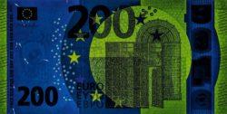 Euro banknote 200 euro 2019 obv uv