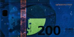Euro banknote 200 euro 2019 rev uv