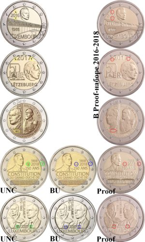 Luxembourg 2 euro 2016-2018