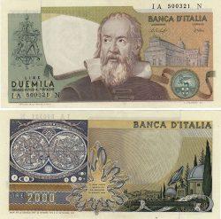 Банкнота в 2000 итальянских лир образца 1973 года.