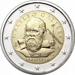 2 евро, Италия (450 лет со дня рождения Галилео Галилея)