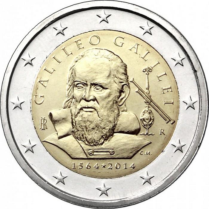 Монета 2 евро галилео галилей монета 25 коп украина 2011 цена