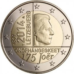 2 евро, Люксембург (175 лет независимости Люксембурга)