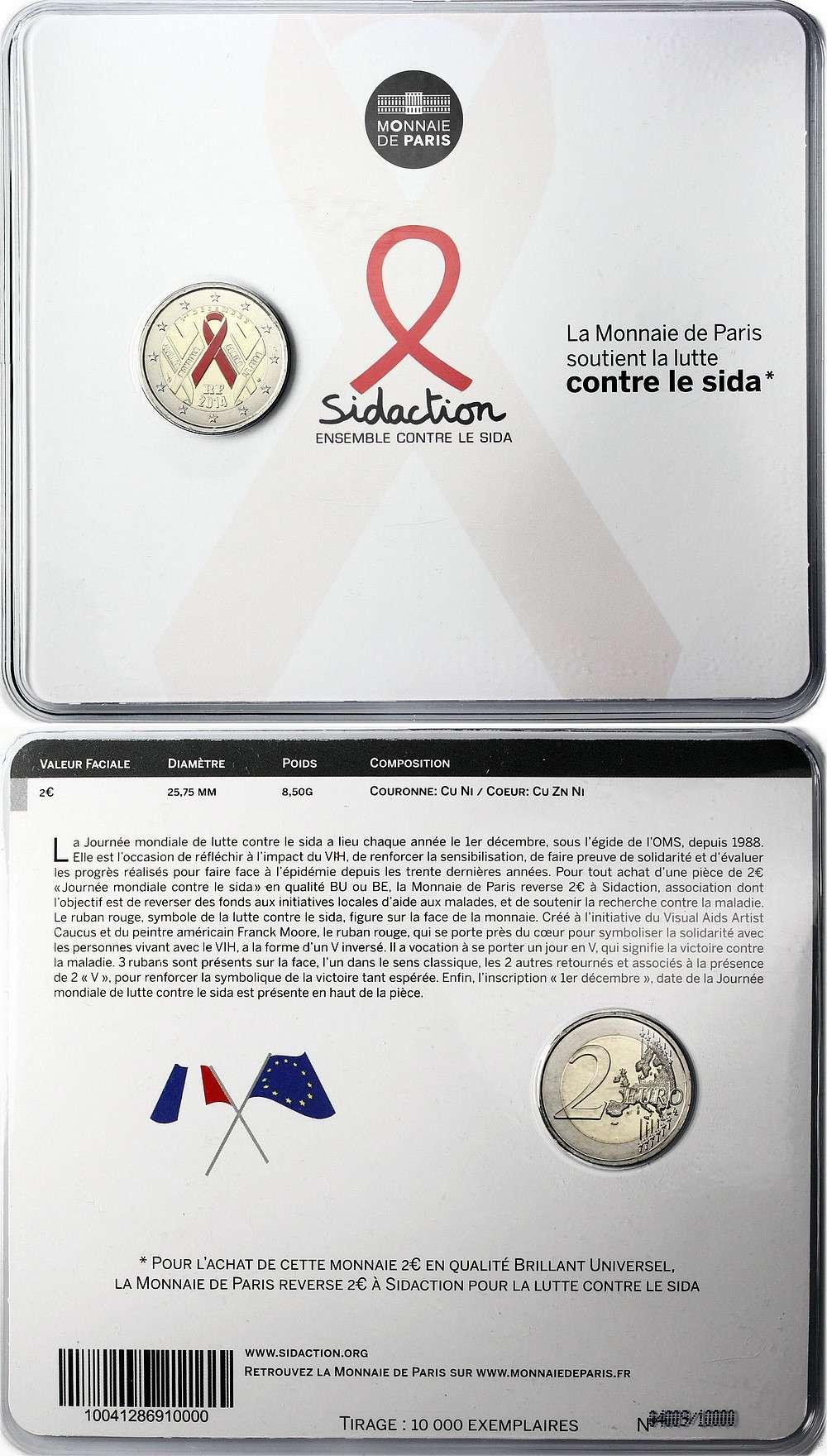 BU и Proof версии монеты являются цветными. Центральная ленточка окрашена в красный цвет.