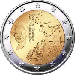 2 евро, Нидерланды (500 лет издания книги «Похвала глупости» Эразма Роттердамского)