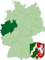 Федеральная земля Северный Рейн-Вестфалия на карте Германии. А так же её герб.